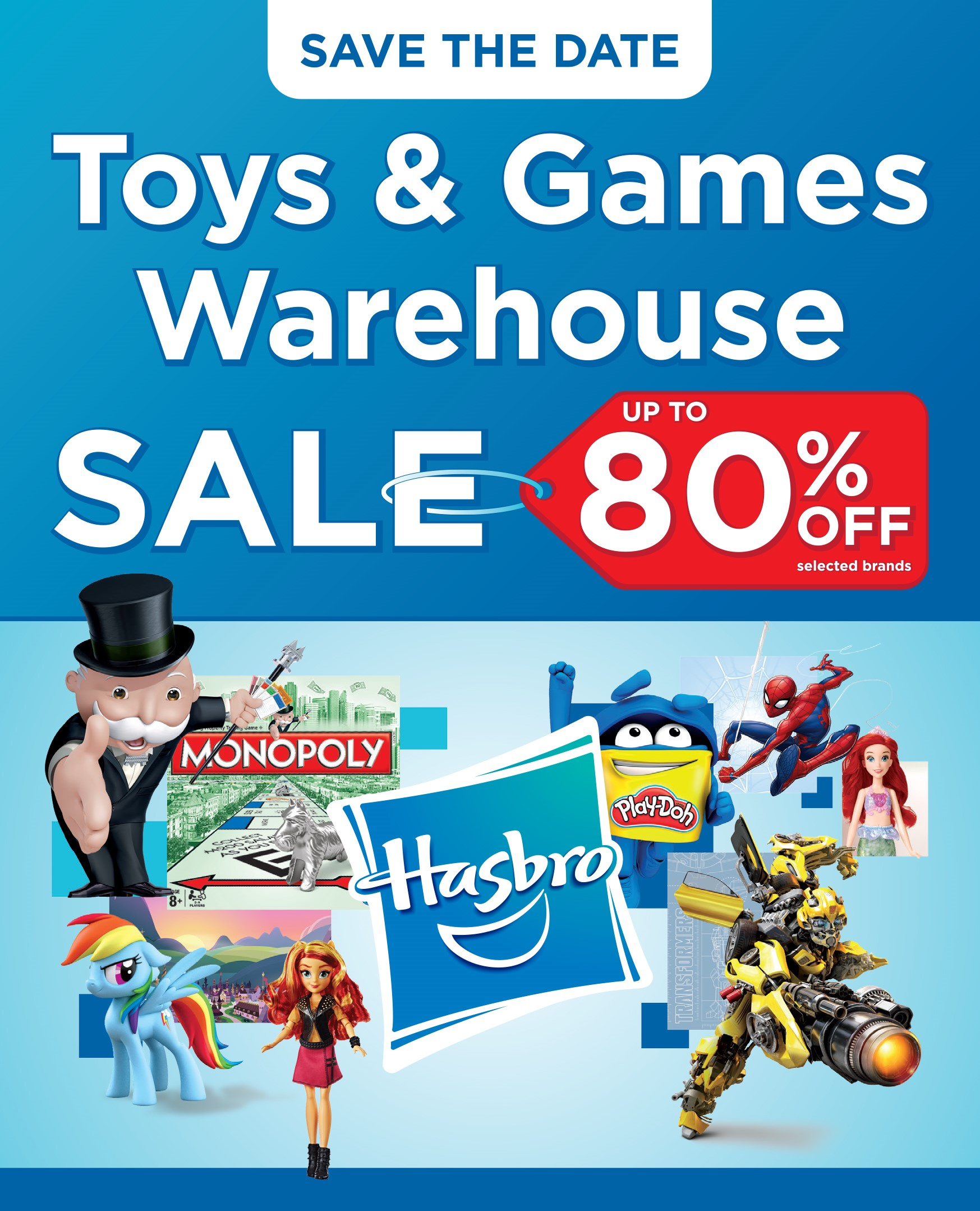 Calling All Hasbro fans! – 80% off warehouse sale